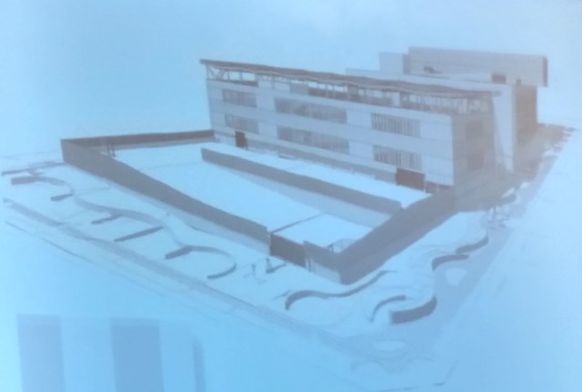 "Design for new North Precinct ""Motor Court"" would include a fence. (City of Seattle)"