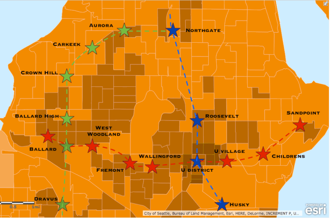 Potential alignments for light rail extensions from Ballard. (Esri)
