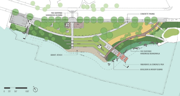 60% design concept for materials of Portage Bay Park. (City of Seattle / Walker Macy)