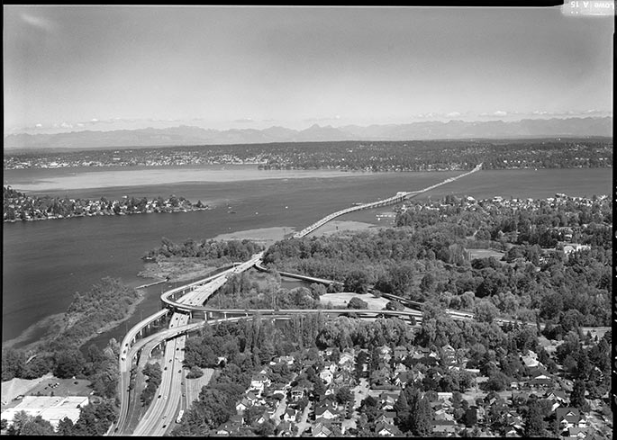 """Arial view of the """"ramps to nowhere"""" (Washington State Dept of Transportation)"""