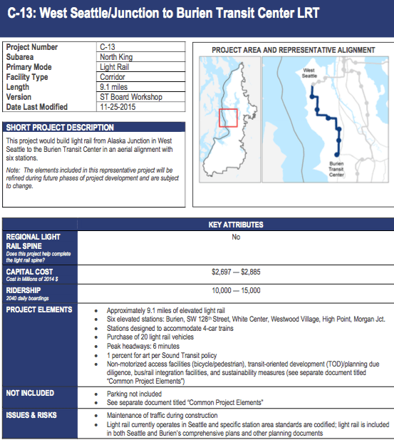 Elevated light rail from West Seattle to Burien would cost about $2.8 billion. (Sound Transit)