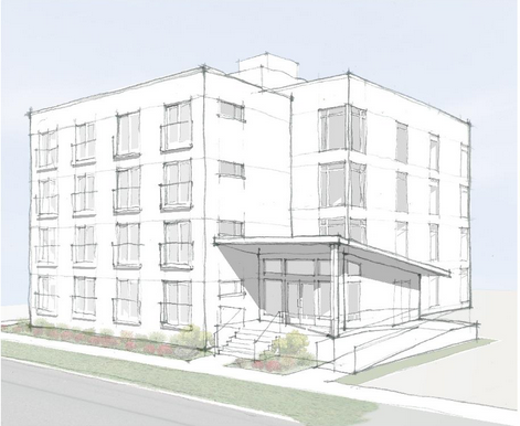 The four story building would contain 52 apartments. ( )