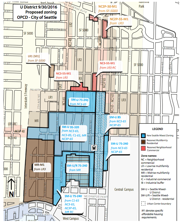 Latest rezone proposal for the University District. (City of Seattle)
