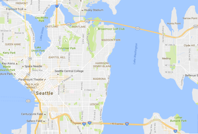 Seattle without I-5 between I-90 and SR-520. (Google Maps)