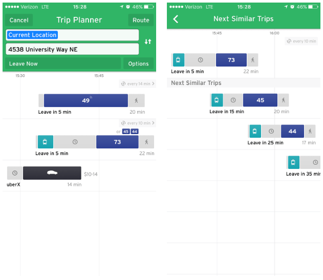 Left:Trip planner showing options from Capitol Hill to the University District. Right:Tapping on the time button above a particular trip option in the trip planner shows similar trip options. (Transit)