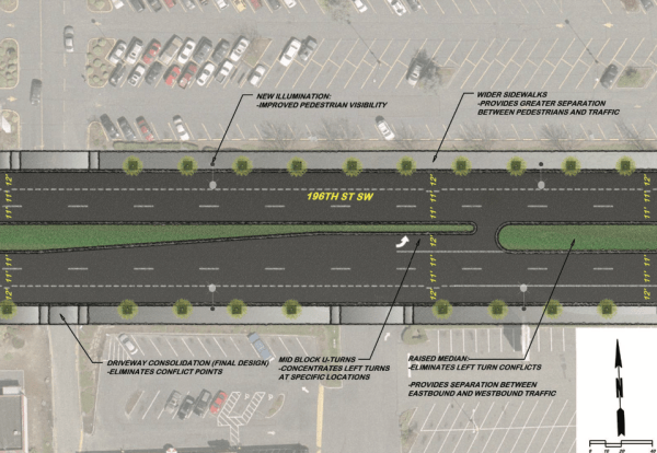 """For what it's worth, the street plan title calls these """"safety improvements."""" But safe for whom exactly? (City of Lynnwood)"""