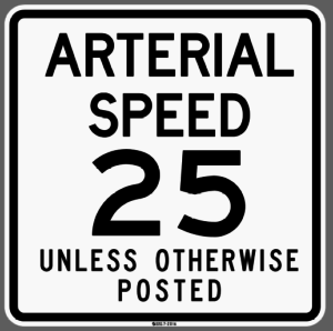 Arterial speed limit sign. (City of Seattle)