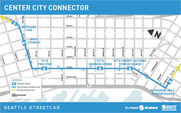 What the Center City Connector will be connecting. (City of Seattle)