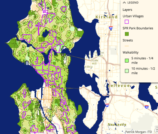 Walkability from open spaces. (City of Seattle)