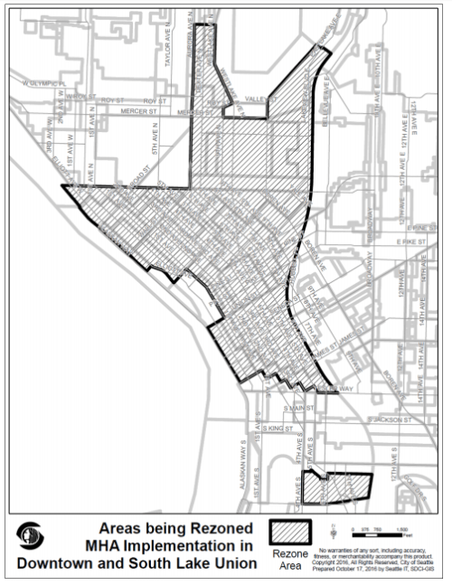 The extent of the Downtown and South Lake Union rezone area. (City of Seattle)