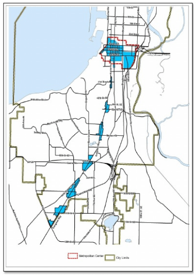 Blue areas are where most growth in Everett is anticipated in the next 20 years. (City of Everett)