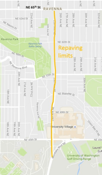 Where SDOT plans to focus the repaving effort on 25th Ave NE. (City if Seattle)