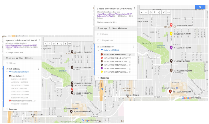 Three years of collision data on 25th Ave NE involving people walking and biking. (City of Seattle / Google)