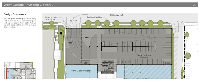Proposed garage and access layout of expansion building next to 25th Ave NE. (City of Seattle)