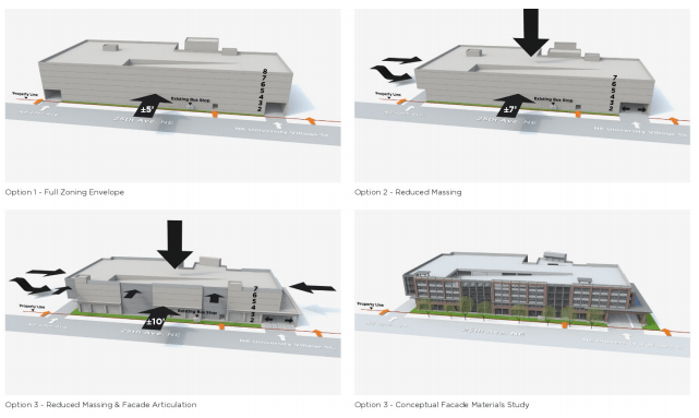 Alternative massings and layouts for garage access to 25th Ave NE from proposed expansion building. (City of Seattle)
