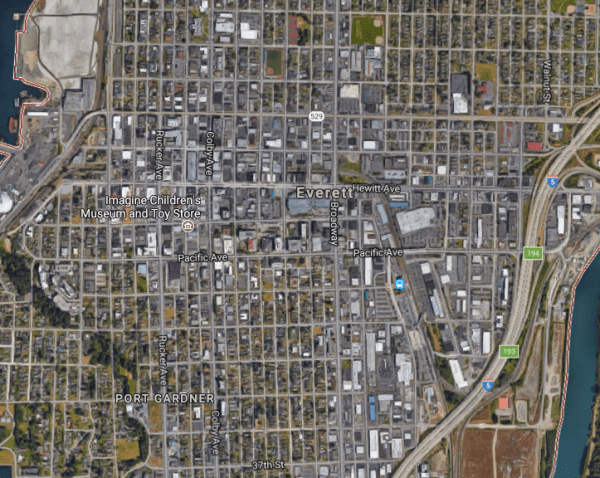 Aerial image of the Metro Everett area. (Google)