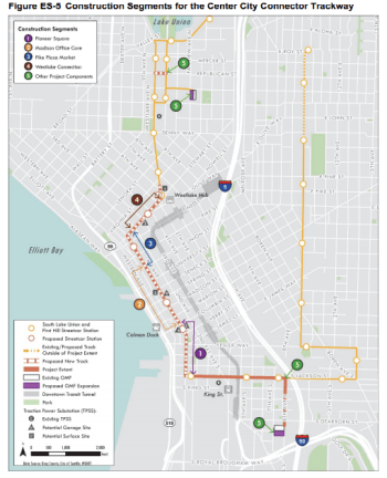 Construction segments for the Center City Connector. (City of Seattle)
