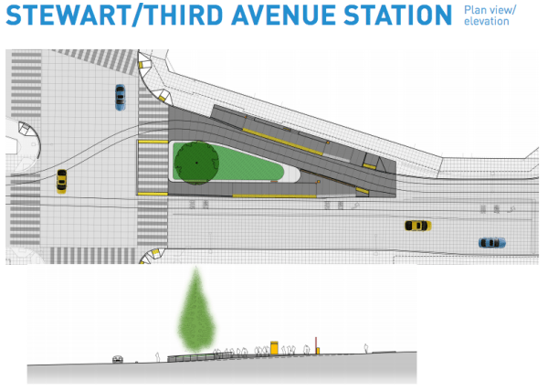 Plan and elevation view of the proposed station at Third Avenue on Stewart Street. (City of Seattle)