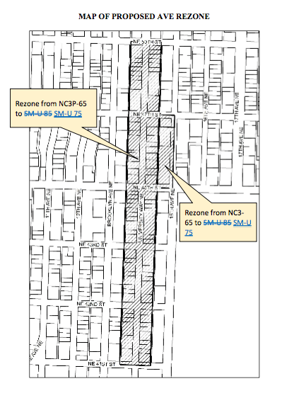 Alternative rezone map for The Ave. (City of Seattle)
