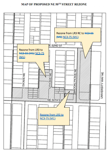 Proposed rezoned from LR3 and LR3 RC to NC3-75 (M1) north of NE 50th St. (City of Seattle)