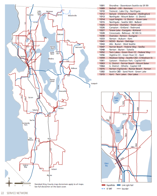 Plan for future RapidRide corridors. (King County)