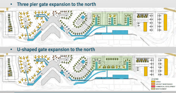 Two primary alternatives for gate expansion north of central terminal. (Port of Seattle)