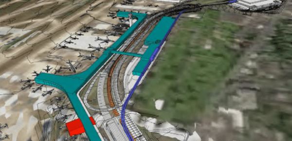 Rendering of the north terminal facilities and possible transportation network. (Port of Seattle)