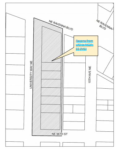 Proposed elimination of proposed rezone to NC2P-55 (M1) on the east blocks of University Way NE between NE Ravenna Blvd and NE 56th St. (City of Seattle)