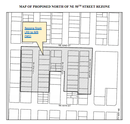 Proposed rezones to MR (M1) north of NE 50th St could be eliminated under a likely amendment by Councilmembers Herbold and O'Brien. (City of Seattle)