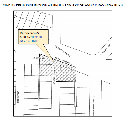 Proposed rezone on NE Ravenna Blvd and Brooklyn Ave NE. (City of Seattle)