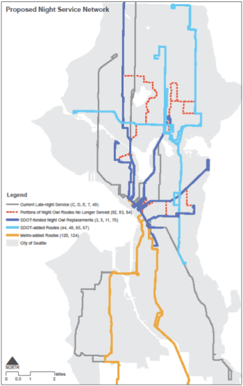 The proposed Night Owl bus network in Seattle. (City of Seattle)