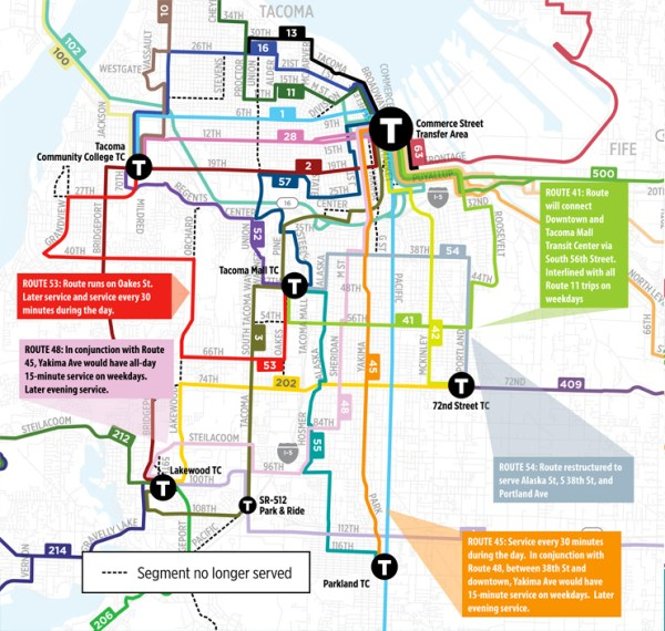 Highlighted changes in South Tacoma. (Pierce Transit)