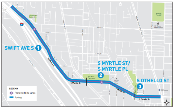 Proposed repaving area for Swift Ave S, S Myrtle St, S Myrtle Pl, and S Othello St. (City of Seattle)