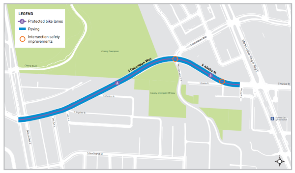 Proposed repaving area for S Columbian Way and S Alaska St. (City of Seattle)
