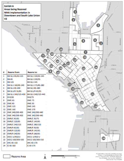 Areas that are rezoned in the Downtown and South Lake Union by the ordinance. (City of Seattle)