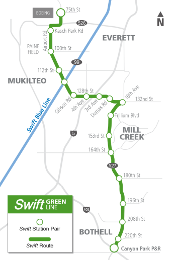 Swift Green Line planned for Autumn 2018. (Community Transit)