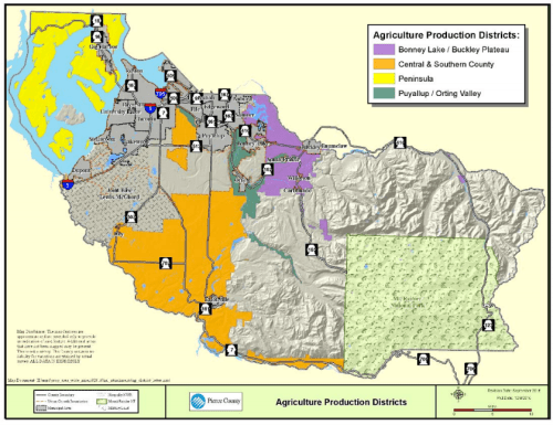 The four proposed agriculture production districts. (Pierce County)