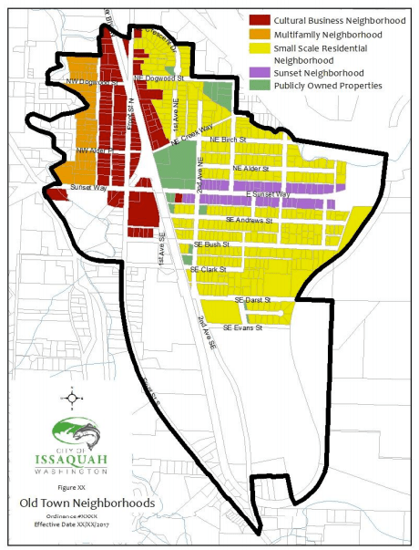 Map of Olde Town neighborhoods. (City of Issaquah)