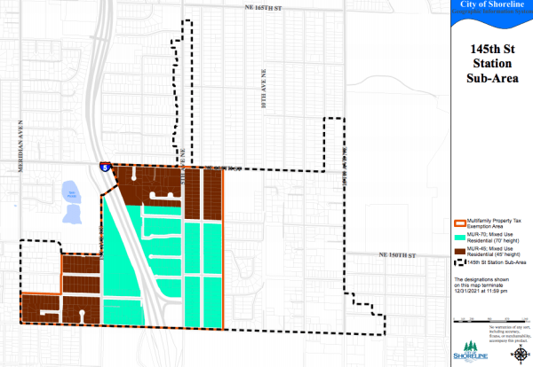 Map of the 145th Street Station area and the zones where MFTE proposals are permitted. (City of Shoreline)