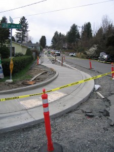 Sidewalk improvements under construction in Northeast Seattle.