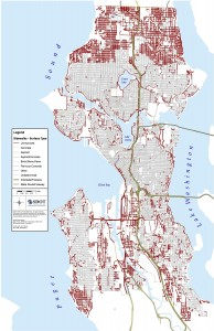 Red are missing sidewalks. (City of Seattle)