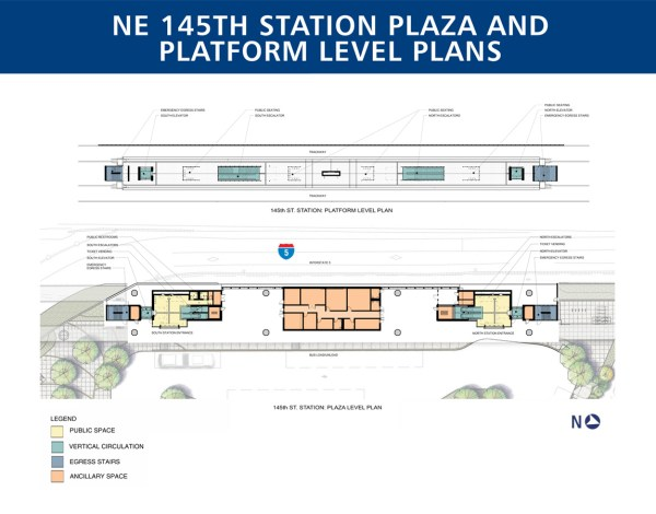 Detailed plan of the plaza and platform levels of 145th Street Station. (Sound Transit)