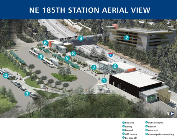 Aerial rendering of 185th Street Station. (Sound Transit)
