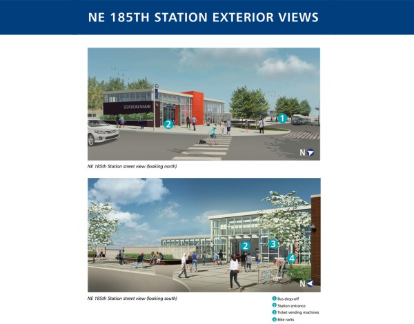 Rendering of the exterior of 185th Street Station. (Sound Transit)