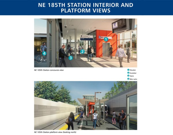 Renderings of the station interior and platform at 185th Street Station. (Sound Transit)