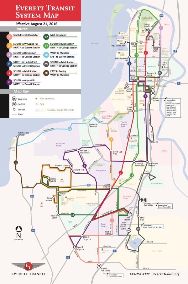 Existing Everett Transit bus network. (City of Everett)