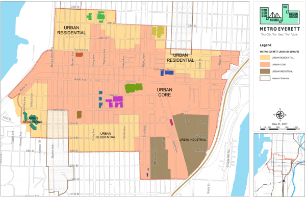 Map of the recommended zoning categories for Metro Everett. (City of Everett)