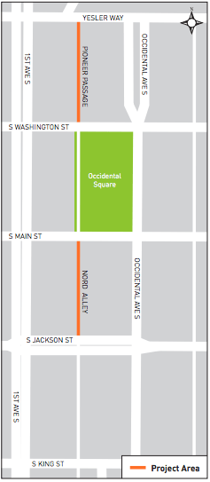 Alleys in Pioneer Square where activation improvements will be made. (City of Seattle)