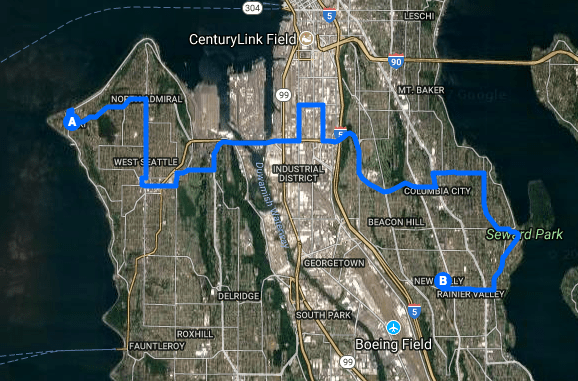 The routing of the 50. (Google Maps)