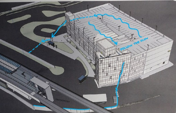 Sketch of the art concept for the 145th Street Station. Note the flow of water. (Sound Transit)